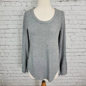 Chaser Long Bell Sleeve Knit Top Gray M NWT